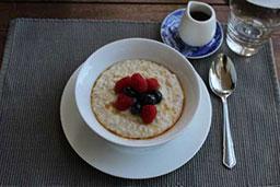 porridge laid out with fruit for breakfast